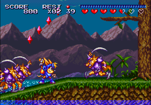 The enemies like to surround Sparkster a lot.